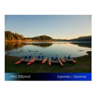 Furnas lake at sunset postcard