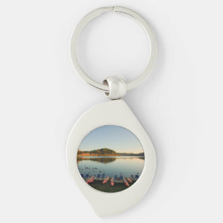 Furnas lake at sunset Silver-Colored swirl keychain