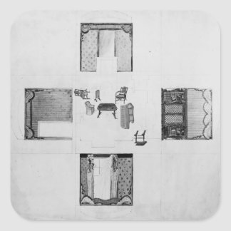 Furnishings for a small drawing room square sticker