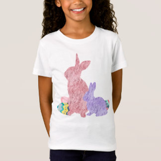 Furry Bunnies Pink Purple Easter Egg Watercolor T-Shirt
