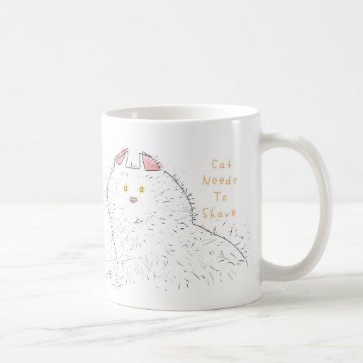 Furry fuzzy hairy cat needs to shave classic white coffee mug