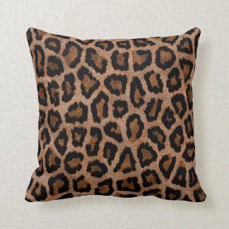 Furry Leopard Animal Print Throw Pillow