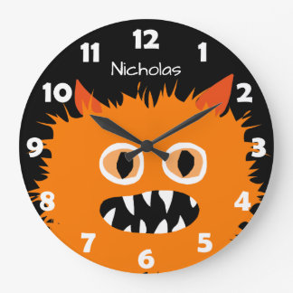Furry Orange Monster Kids Personalized Silly Large Clock