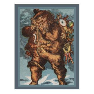 Furry Santa Smoking His Pipe Postcard