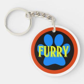 Furry Single-Sided Round Acrylic Keychain