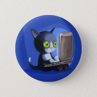 Furry Surfers: Black and white 2 Inch Round Button
