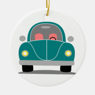 Fusca love ceramic ornament