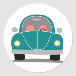 Fusca love classic round sticker