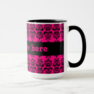 Fuschia and black mini damask print mug