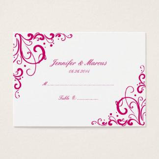 Fuschia and White Flourish Wedding Seating Cards
