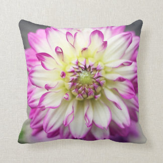 Fuschia Dahlia Flower Throw Pillow