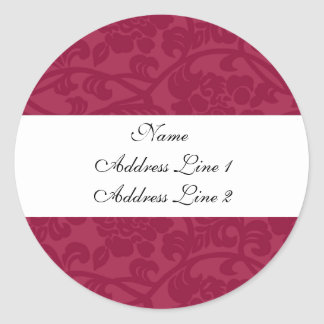 Fuschia Damask Address Labels
