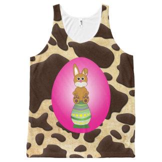 Fuschia Easter Egg Bunny Brown & Gold Animal Print All-Over-Print Tank Top