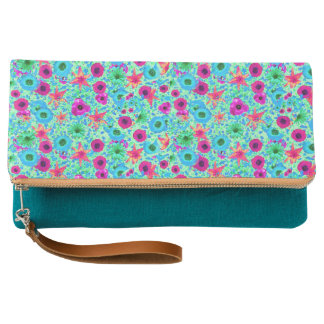 Fuschia Flowers Clutch
