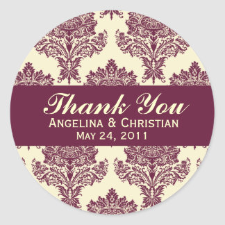 Fuschia & Ivory Damask Round Wedding Labels