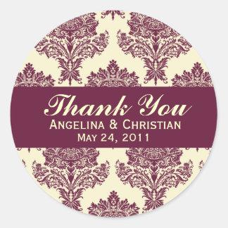 Fuschia & Ivory Damask Round Wedding Labels Round Sticker