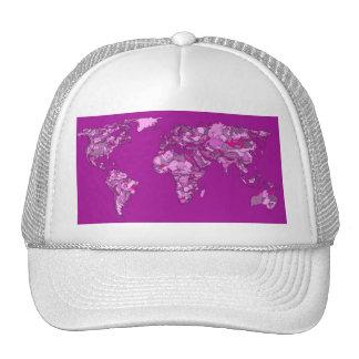Fuschia pink map trucker hat