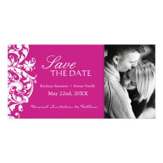 Fuschia Save The Date Invitation Customized Photo Card