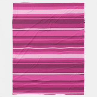 Fuschia stripes fleece blanket