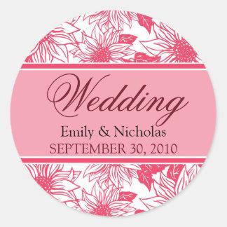 Fuschia Sunflowers Wedding Invitation Seal Round Sticker