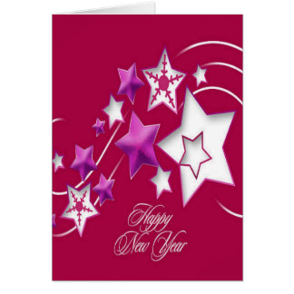 Fuscia and Red Happy New Year Shooting Stars Card