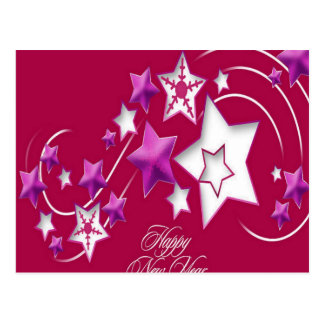 Fuscia and Red Happy New Year Shooting Stars Postcard