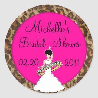Fuscia Bridal Shower Stickers