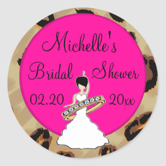 Fuscia Leopard Bridal Shower Stickers