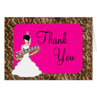 Fuscia Leopard  Bridal Thank You Card