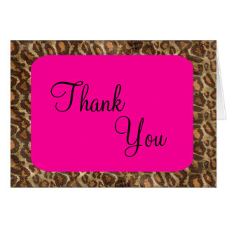 Fuscia Leopard Thank You Card