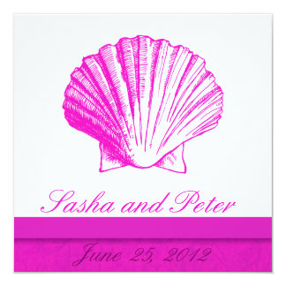 Fuscia Shell Beach Wedding Invitations