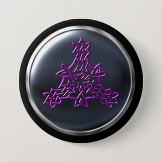 Fuscia Shield Maiden Warrior Shield 3 Inch Round Button