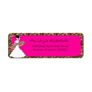 Fuscia Wild Side Raven Bride Address Labels
