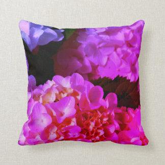 Fushia  Pink  Hydrangeas Throw Pillow