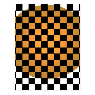 Fusion Checkerboard Gold White Black Mod Retro Postcard