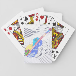 fusion doodle of colors and black and white playing cards