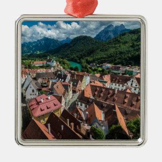 Fussen - Bavaria - Germany Silver-Colored Square Ornament