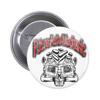 Future Auto Mechanic Skull Design Pinback Buttons