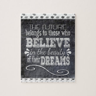 Future Belong, Believe in the Beauty Dreams, Black Jigsaw Puzzle