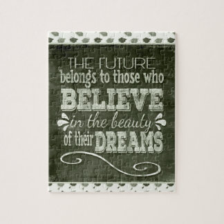 Future Belong, Believe in the Beauty Dreams, Green Jigsaw Puzzle