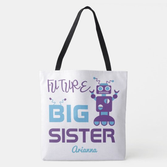 Future Big Sister Purple Robot Sibling Kids Tote Bag