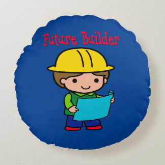Future Builder Round Pillow