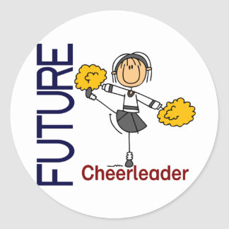 Future Cheerleader Stick Figure Classic Round Sticker