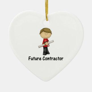 future contractor ceramic heart ornament