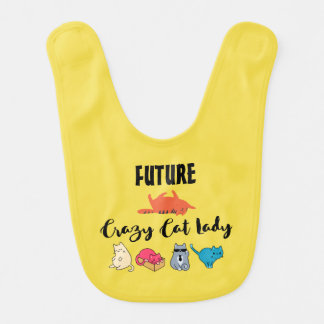 Future Crazy Cat Lady - Cute Kitty on Yellow Bib
