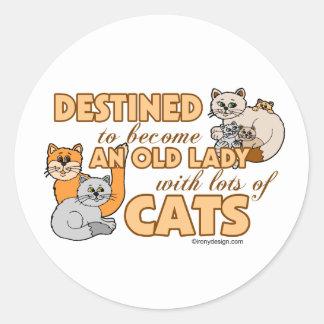 Future Crazy Cat Lady Funny Saying Design Classic Round Sticker