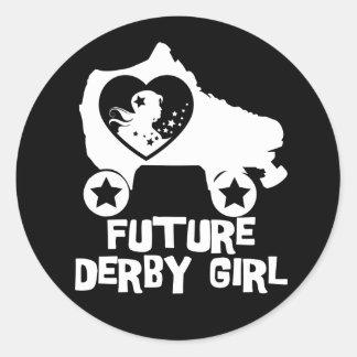 Future Derby Girl, Roller Skating design for Kids Round Sticker