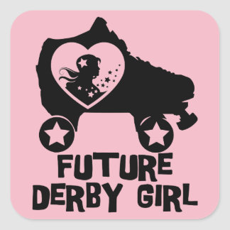 Future Derby Girl, Roller Skating design for Kids Square Sticker
