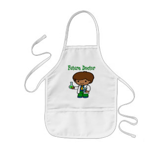 Future Doctor Dark Skin Kids Apron