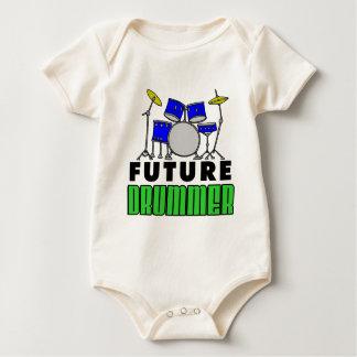 Future Drummer Blue Drum Set Baby Bodysuit